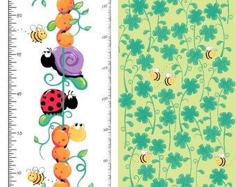 "Leif the Caterpillar Growth Chart Panel 30"" from Susybee - juvenile susy bee quilting cotton woven fabric character kids bugs cartoon"