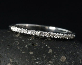 "Micro-Pave Diamond ""Almost"" Half-Eternity Wedding Band - Choose Your Setting - Classic Band"