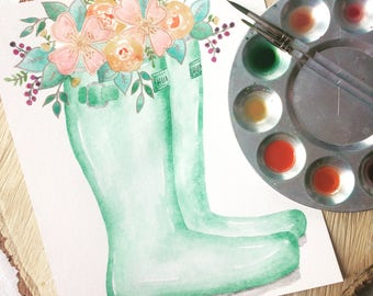 Hunter boots with spring floral bouquet - handpainted watercolor art