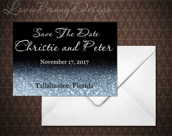 Black and Silver Save the Date Card, Instant Download, Save the Date Template, doc, Microsoft Word, code-034
