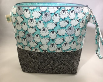Sheep Knitting Crochet Craft Zippered Project Bag
