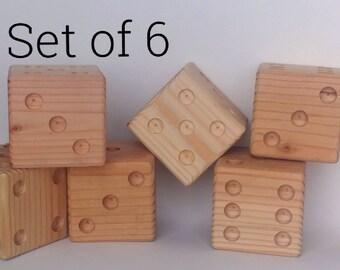 Yard Dice Set of 6 -  Farkle Dice Game - Natural Wood Dice - Giant Dice - Yard Games