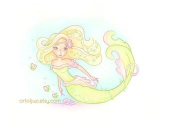 Mermaid wall art -  mermaid decor, painting, art print