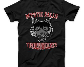 Mystic Falls Timberwolves T-Shirt Vampire Diaries Inspired Design Mystic Falls High School Virginia
