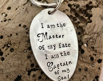 I am the Master of my fate I am the Captain of my Soul Vintage Spoon Key Ring - Keychain - Sailing - Boating - Boat - Graduation -