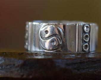 Retro Yin Yang Silver 925 Band, US Ring Size 13.0, Used Vintage