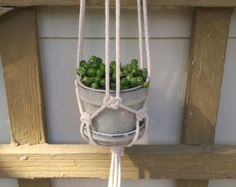 Glazed Clay Pot Macrame Hanger, Macrame Plant Hanger, Pot Hanger (Other Colors Available)
