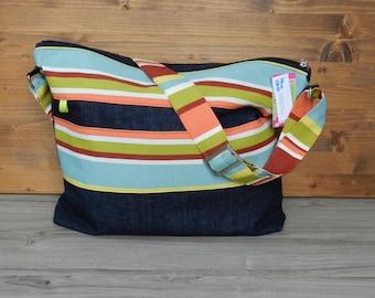 Bag shoulder strap, adjustable, bag, beach bag, purse, tote bag, striped, green, Burgundy