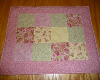 Doll quilt, FREE SHIPPING, doll blanket, flannel patchwork, pink border