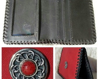 """SALE! Ruby Red Leather Wallet, ID/Credit Wallet, 4""""x3.5"""" Petite Slim Leather Wallet, Celtic Accent Wallet, HandLaced w/Leather Lace"""