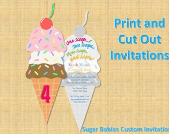 Ice Cream Cone Social Birthday Invitation