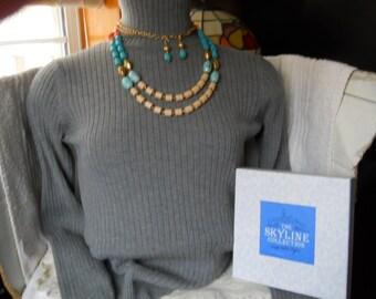Skyline Gem Stone Necklace Earring Set #944