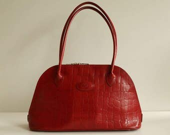 Mulberry handbag in red crocodile embossed leather