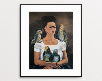 Frida Kahlo - Me and My Parrot, 1941 - Vintage Book Page - Frida Kahlo Print - Frida Kahlo Painting - Frida Kahlo Wall Art - Frida Parrots