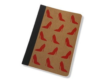 Brown Kraft A6 Lined Notebook Journal Hand Printed Red Stiletto Shoe