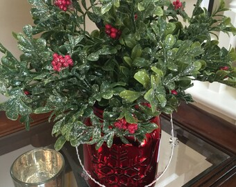 Holiday Arrangement of Boxwood and Berries, Beautiful Glittery Leaves, Red Mercury Mason Jar, Christmas Gift, Holiday Decor