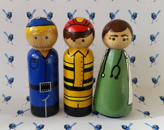 Wooden Peg Dolls - Fireman, Doctor, Vet, Policeman, Teacher, Chef