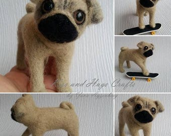 Bart- the pug, Needle felted pug, needle felted dog, the pug with a skate board