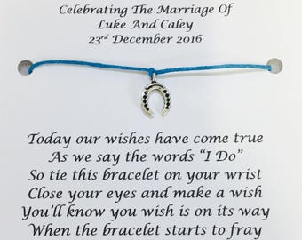 5 x Personalised Wedding Day Wish Bracelets Favours/Gifts, Table Favours For Your Guests