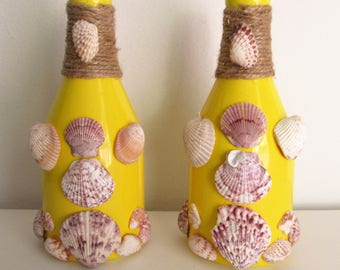 Yellow Decorative Bottles Embellished with Hand-Picked Sea Shells and Twine, Set of 2
