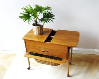 Vintage sewing box with wheels 60s, midcentury basket for sewing items, wooden storage case , bedside table, side table