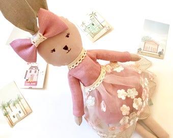 Stuffed bunny Toy rabbit Fabric doll Plush bunny