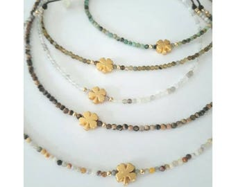 Gabriel, plated clover necklace gold and gemstones