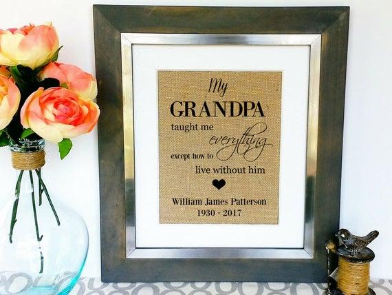 Grandpa Memorial Print In Memory Of Grandfather Loss Of Papa