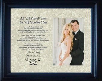 To My Aunt Uncle on my  Wedding Day  Bride Personalized Custom Gift frame thank you