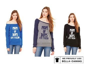 Mom of Boys off-the-shoulder wide neck sweatshirt
