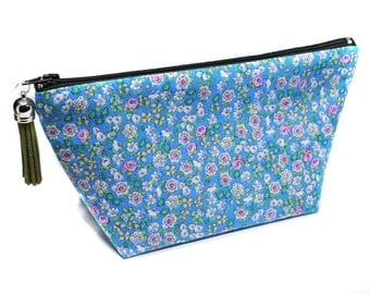 toiletry case in blue cotton fabric