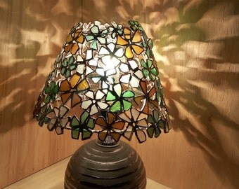 """Small table Tiffany sea glass stained glass lamp """"Flowers"""" - OOAK home boho decor"""