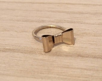 so cute ring CLARISSE, ring with a bow tie gold plated