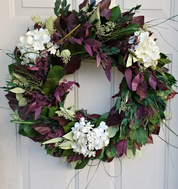 "Leaf wreath, 24"" wreath, green wreath, salal wreath, seeded eucalyptus wreath, preserved wreath, hydrangea wreath, natural wreath"
