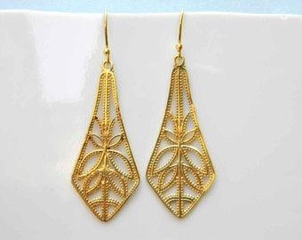 Long Leaf Design Silver Earrings, 14k Gold Micron Silver Dangle Earrings, Amazing Modern Sterling Silver Jewelry earrings