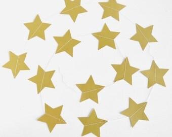 Gold Star Garland, Birthday Garland, Gold Garland, Gold Party Decorations, Wedding Garland, Holiday Garland, Gold Baby Shower, Hanging Stars