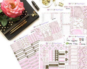 Cherry Blossom Weekly Sticker Kit// VERTICAL Weekly Kit for Erin Condren// 6 sheets of planner stickers