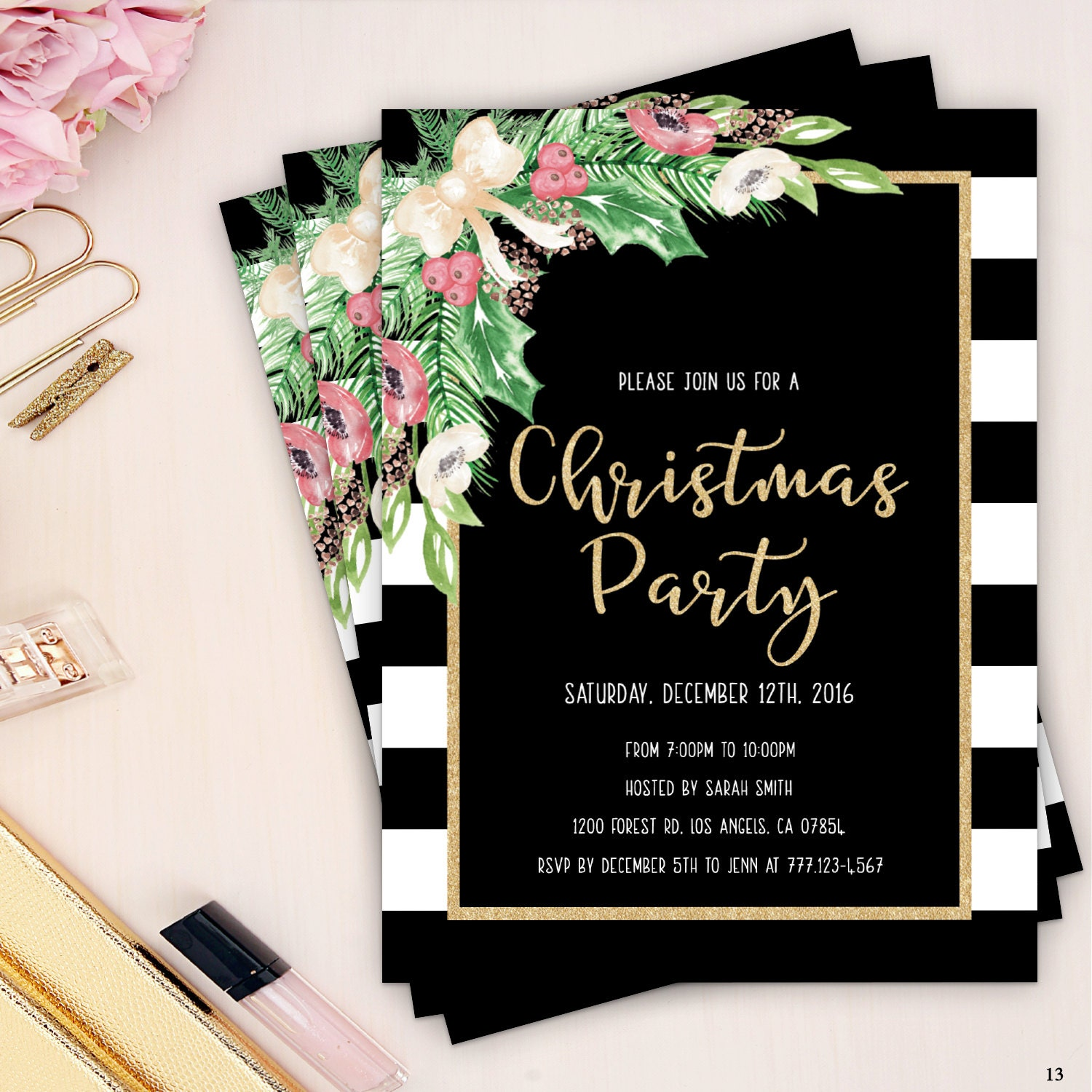 christmas party invitation, holiday party invites, black and gold ...