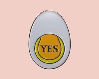 "Yes ""Yolko"" Egg Lapel Pin 1 1/4"""