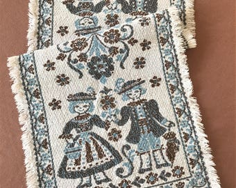 Vintage Table Runner Made In Austria, Vintage Table Linens, Austria Boy And Girl Tapestry Fringed Table Runner, Table Runner