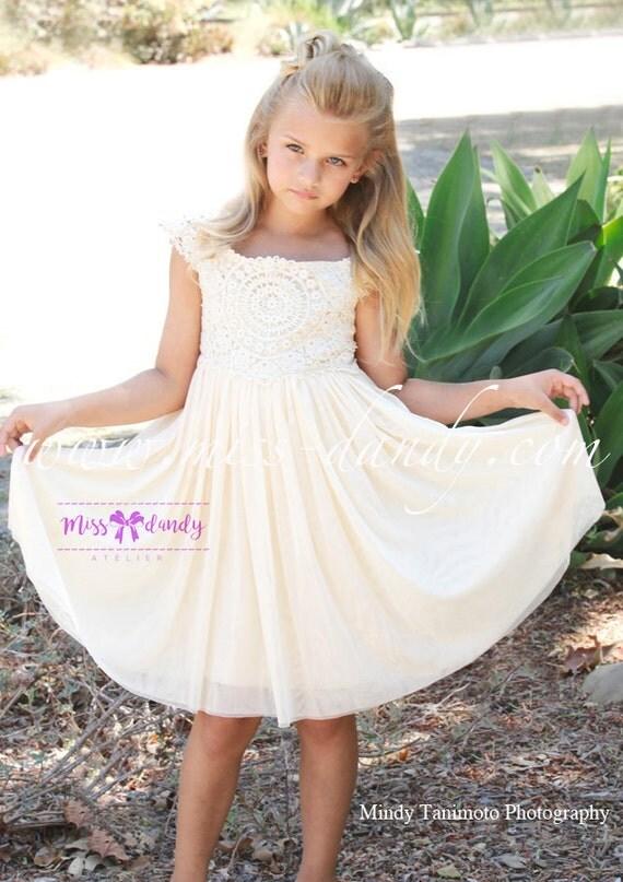 Flower Girl dress, Ivory Lace, Chiffon Flower Girl Dress, Champagne/Cream Country Flower Girl, Crochet girls Dress, Beach Bohemian Wedding