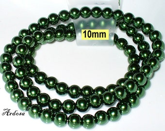 1 strand 82cm = 86 glass pearl beads 10 mm olive green (810.59.1)