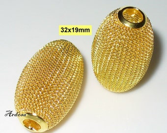 2 beads wire mesh oval gold 32x19mm (K104. 32)