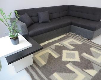 Grey White Geometric Rug,Handwoven Rug,Carpet Rugs,Scandinavian Rug,Wool  Area
