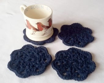 Navy Blue crocheted coasters