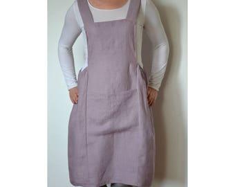 Plus size apron dress, linen apron, linen apron dress, artist apron, woman apron, artist smock,pinafore,plus size apron,linen pinafore dress
