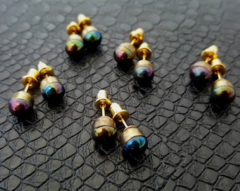 Rainbow Glass, Vintage Gold Tone Bezel Cups & Gold Plate Stud Earrings - NEW!