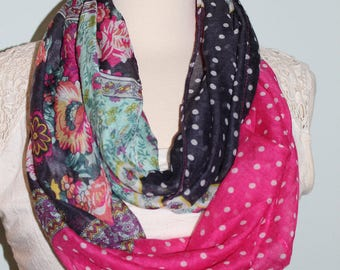 Infinity Scarf, Colorful Scarf, Lightweight Scarf, Birthday Gift, Polka Dot Infinity Scarf, Pink and Black Infinity Scarf, Teen Gift, Scarf