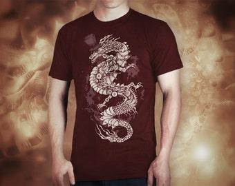steampunk dragon burgundy t shirt for men, screen printed men's short sleeve tee shirt, Size S, M, L, XL, XXL