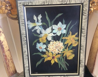 Antique Oil Painting on Tin, Framed Floral, 1900's, Very Good Cond.